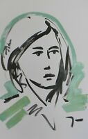 "JOSE TRUJILLO Large Acrylic Painting Original 26x40"" Green Woman Figure Portrait"