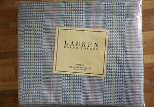 Lauren Ralph Lauren Studio Glen Plaid Seaview Queen Flat Sheet NEW Blue