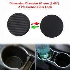 "2x 63mm (2.48"") Black Carbon Fiber Car Dashboard Water Cup Slot Non-Slip Mat Kit"