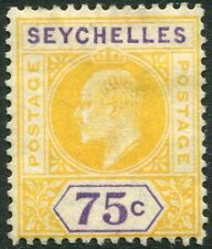 SEYCHELLES-1903 75c Yellow & Violet Sg 54 MOUNTED MINT V33233