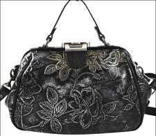 Patricia Nash Black/Silver Metallic Floral Embossed Leather Vintage Satchel Bag