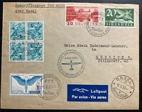 1939 Zurich Switzerland Registered Airmail cover To Basel Pro Aviation