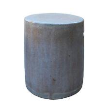 Chinese Ceramic Clay Mauve Beige Glaze Round Flat Column Garden Stool cs3282