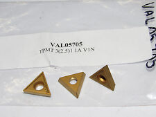 3 new VALENITE Walter TPMT 3(2.5)1 1A V1N Carbide Inserts