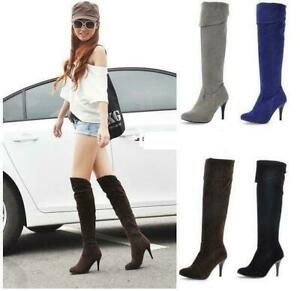 Women pointed toe Stiletto high Heel suede slim Over The Knee Boots party Shoes