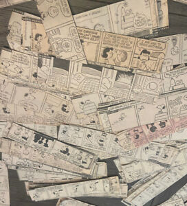 Peanuts Snoopy Charlie Brown Comic Strip Newspaper Clippings Lot Of 500+ 1968-75