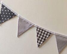MINI Fabric Bunting Greys Stars Stripes Spots