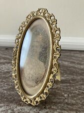 Antique Brass Oval Domed Glass Picture Photo Frame