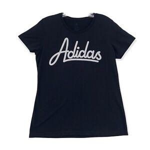 Adidas Soft Cotton T Shirt Black Logo Short Sleeve Fitted Crew Neck Womens Mediu