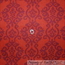 BonEful Fabric FQ Cotton Woven Decor Red Maroon Drapery Flower Leaf Toile Damask