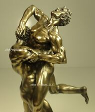 HERCULES & ANTAEUS GREEK MYTHOLOGY Nude Male Sculpture Statue Bronze Finish