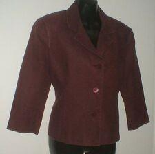 ETAM veste courte manches ¾ en pur lin bordeaux prune en taille 42