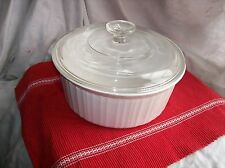 CORNING WARE Glass Covered Souffle~ Casserole Dish~2.5 liter~FRENCH WHITE