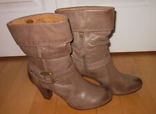 Fossil Womens Dark Taupe Distressed Western Fashion Boots 9 *Sharp Must C*