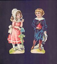 2 Nice Vintage scraps Girl & Boy holding Parasol & Hat size 170 x 60 mm  (RB41)