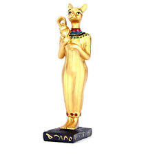 Gilded and Coloured Figure of Bastet Holding a Sistrum - BNWT