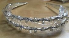 2 Riga Crystal Diamante E Perla Fascia Per Capelli Aliceband Tiara da Sposa Prom Party