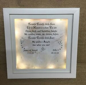 LED Light Box Frame Remembrance Bereavement Gift Butterflies & Feathers