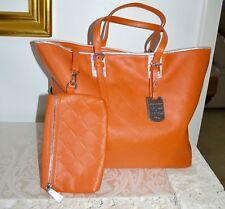 New $675 Auth Longchamp Paris LM Cuir Orange Zip Shoulder Tote Bag w Pouch