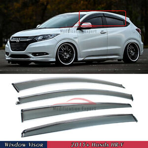 For 2015-2021 Honda HR-V HRV Chrome Trim Smoked Tinted Window Visor Rain Guard