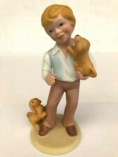 Avon Best Friends Boy Two 2 Dogs Handcrafted Figurine Marked Vintage 1981