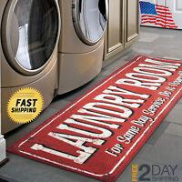"Laundry Room Runner Rug 20"" x 59"" Non Slip Rubber Backing Area Rug,New Free ship"