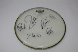 """RAMMSTEIN FULL BAND (X6) SIGNED AUTOGRAPH 12"""" DRUMHEAD - MUTTER, RESIE REISE JSA"""