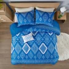 BEAUTIFUL BLUE WHITE SOUTHWEST NATIVE GEMOETRIC FRINGE CABIN SOFT COMFORTER SET