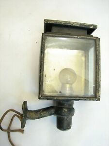 Antique Small Beveled Glass Driving Coach Lantern Buggy Lamp Carriage Auto Light
