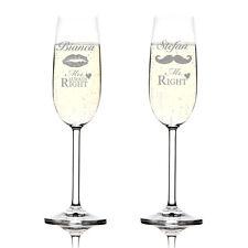 Ensemble de deux coupes à champagne incl. GRAVURE MR. RIGHT et mme.