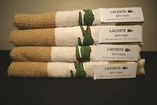 Lacoste Bath Towel 100% Cotton Embroidered Logo 30 x 52 Beige/White - Lot Of 4