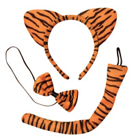 TIGER Ears and Tail Set Headband Fancy Dress Costume Accessory ONE SIZE FITS ALL