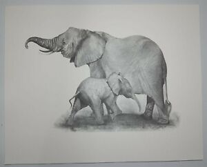 Elephant Mother Baby Pencil Drawing  Print                S1