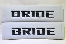 Embroidery Black on Gray Bride Racing Logo Seat Belt Cover Shoulder Pads Pairs