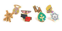 Complete set of 8 Gold Kalos Gym Leader Badges Lapel Pins | Pokemon Series 6