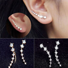 New Clip Piercing Cuff Earrings Women Ladies One Row Rhinestone Crystal Ear Stud