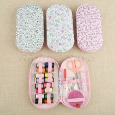 Sewing Tools Kit Portable Mini Travel Oval Case Needle 16 Threads DIY Home Set