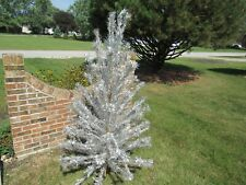 Vintage Sparkler Aluminum Pom Pom Christmas Tree 6' Foot With Color Light Lamp