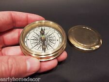 "Vintage Antique Style 2 1/4"" Screw Top Brass Heavy Maritime Navigational Compass"