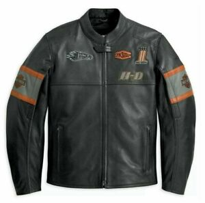 Herren Original HD Cowhide leder Motorbiker Riding Jacke