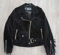 Rowouo Women's Pure Leather Bikers Jacket Suede Made in Australia Black Sz 8