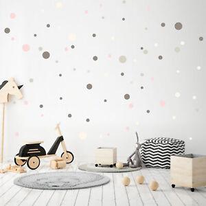 100 Circles Wall Tattoo Set Grey Pink Beige Sticker Foil Kid's Room Baby Y035