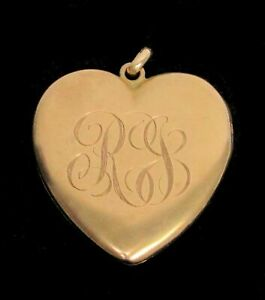 VINTAGE 14K SOLID GOLD HEART SHAPE WITH DOUBLE PHOTO'S LOCKET
