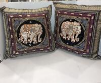 Vintage Kalaga Tapestry Pillow Cover Asian Burmese Thai India Elephant Set Of 2