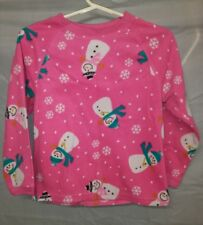 The Childrens Place girl's sz S (5/6) 2-piece fleece pink snowman PJ set