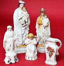 5 Porzellanteile Maria Madonna Engel Vase 1850 - 1900 handbemalt Höhe 10 - 28 cm