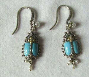 Barbara Bixby Sterling Silver/18K Gold Turquoise Scarab Dangle Earrings