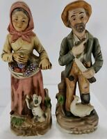 Ardco Man Holding Pipe / Woman with Basket of Fruit Porcelain Figurines #1417 8""