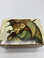 Vtg Reuge Swiss Wood Music Box Hummel Boy Girl Umbrella Edelweiss 391-026
