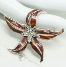 Beautiful Vintage 1950s Marcasite and Enamel Star Flower BROOCH Pin Jewellery